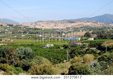 Farmland And Houses In The Valley With Views Towards The Mountains, Alora, Malaga Province, Andaluci