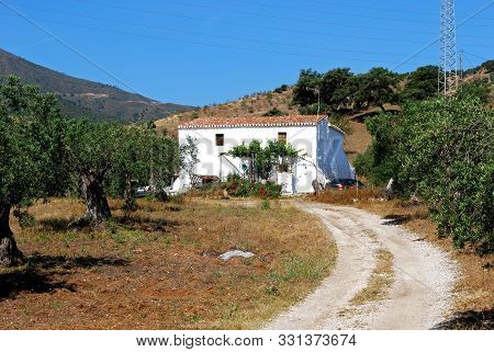 Pretty Whitewashed Finca Swith Trees In The Foreground And Mountains To The Rear In The Countryside,