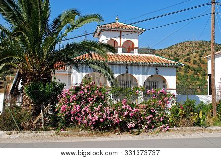 Pretty Villa In The Countryside With Pink Bushes And A Palm Tree In The Foreground, Alora, Malaga Pr