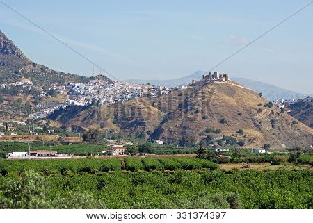 View Of The White Town And Moorish Castle, Alora, Malaga Province, Andalucia, Spain, Western Europe