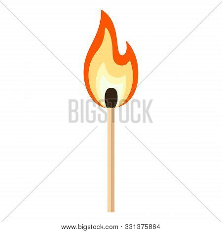 Matchstick With Red, Orange, Yellow Fire. Burning Match Stick Cartoon Flat Vector Illustration Isola