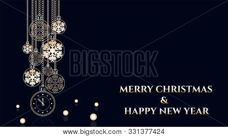 Golden Christmas Balls Background. Festive Xmas Decoration Gold Bauble And Bright Snowflake, For Hou