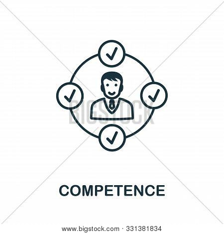 Competence Icon Outline Style. Thin Line Creative Competence Icon For Logo, Graphic Design And More