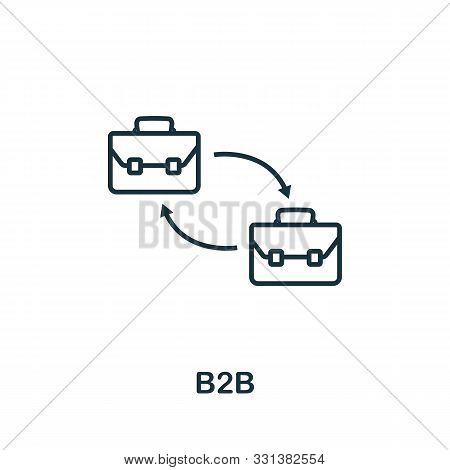 B2b Icon Outline Style. Thin Line Creative B2b Icon For Logo, Graphic Design And More