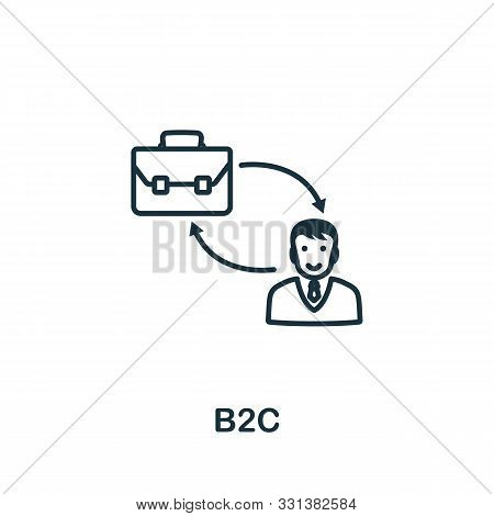 B2c Icon Outline Style. Thin Line Creative B2c Icon For Logo, Graphic Design And More