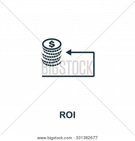 Roi Icon Outline Style. Thin Line Creative Roi Icon For Logo, Graphic Design And More