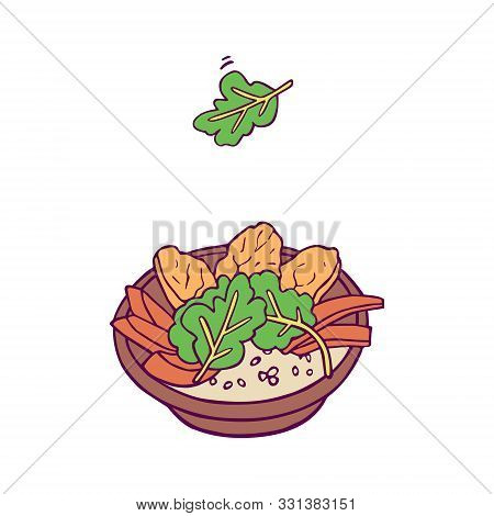 Healthy Bowl And Green Smoothie And Orange Juice. Hand-drawn In Cartoon Style, Colored Artwork Isola