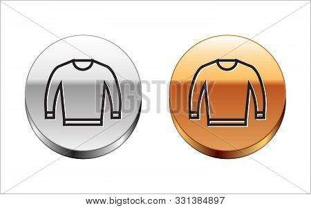 Black Line Sweater Icon Isolated On White Background. Pullover Icon. Silver-gold Circle Button. Vect