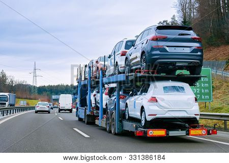 Car Carrier Transporter Truck On Road European Transport