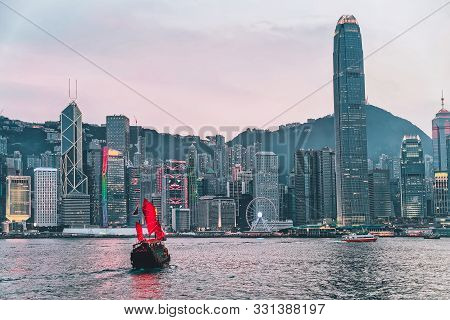 Skyline On Victoria Harbor In Hk View From Kowloon