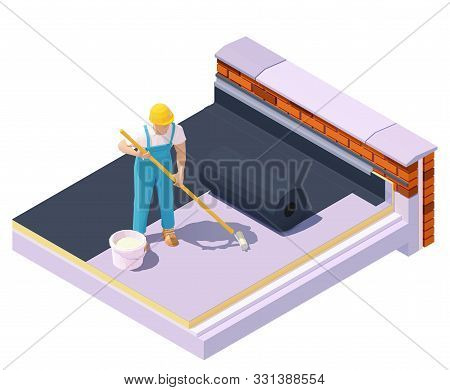 Vector Isometric Worker At Flat Roof Waterproofing And Insulation. Rubber Roofing Membrane, Epdm Or