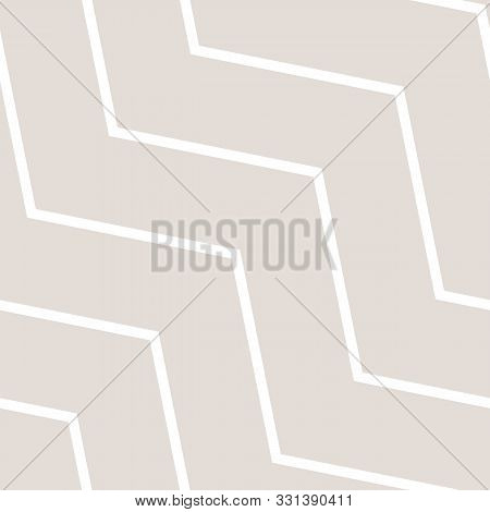 Subtle Vector Seamless Pattern With Diagonal Stripes, Thin Lines, Chevron, Zigzag. Simple Minimal Be