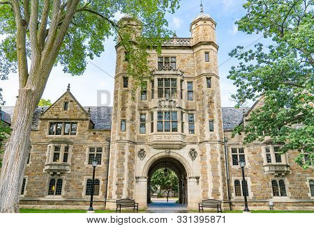 Ann Arbor, Mi - September 21, 2019: University Of Michigan Lawyers Club On The Law Quadrangle