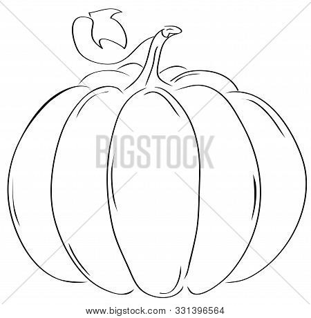 Vector Illustration Of A Pumpkin Silhouette Isolated On White.