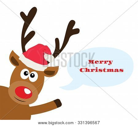 Vector Illustration Of A Funny Reindeer With A Speech Bubble. Merry Christmas Card.