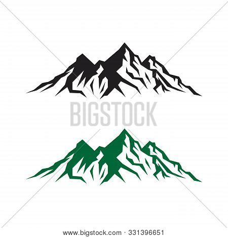 Mountain Tourism And Rock Climbing Icon Set. Mountain Top Black Silhouette With Snowy Peak, Mountain