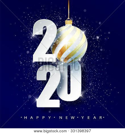 Blue 2020 Happy New Year. Holiday Vector Illustration Of Numbers 2020. Holidays Design Of Greeting C