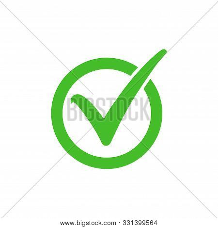 Tick Symbol In Green Circle, Checkmark In Checkbox Vector Icon. Yes, Right Or Ok Tick Check Mark Wit