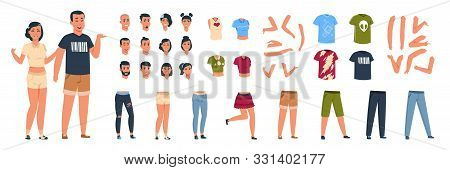 Female And Male Constructor. Classy Character Man And Woman Animation Kit With Different Casual Clot