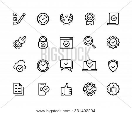 Quality Control Line Icons. Check Mark And Approve Certificate Outline Symbols, Confirmation And Qua