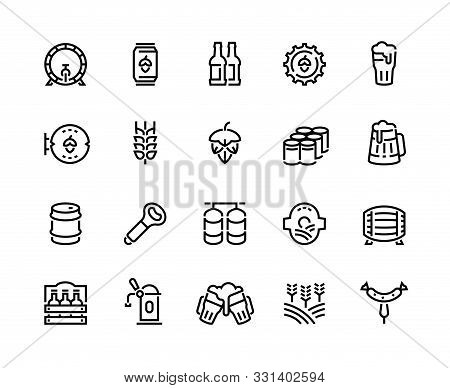 Beer Line Icons. Glass Bottles Pack Kegs Wooden Mug And Barrel, Alcoholic Beverages And Barley Hop D