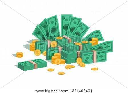 Money Pile. Bundle With Flying Dollars And Rolling Golden Coins, Stack Of Green Banknotes And Coins