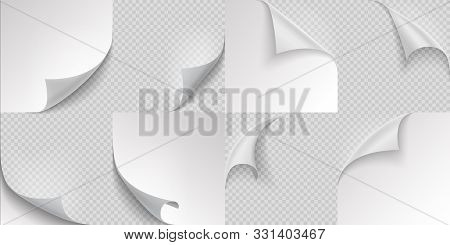 Curled Page Corners. Flipped And Turning Paper Leaf Set On Transparent Background. Vector Folded Or
