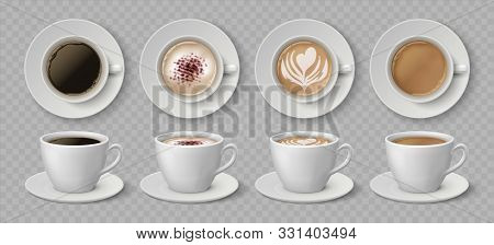 Realistic Coffee Cups. Espresso Latte And Cappuccino Hot Beverages, 3d Mockup Front And Top Views. V