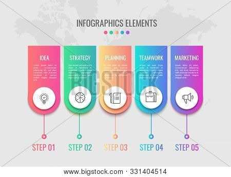 Cycle Timeline. Business Infographic Elements Timeline With 5 Steps Workflow. Process Visualisation