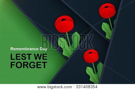 Vector Lest We Forget. Craft Red Poppies Field Remembrance Day Banner. Papercut Poppy Flower Peace S