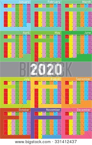 2020 Calendar Planer Organizer Big Editable Space Color Weekday And Month