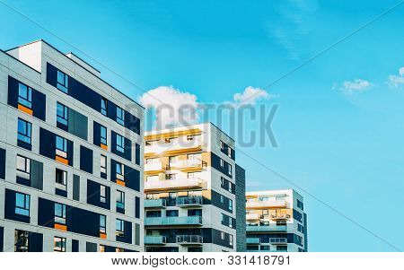 Detail In Modern Residential Flat Apartment Building Exterior
