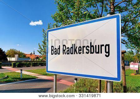 Modern Traffic Road Sign On White Bad Radkersburg