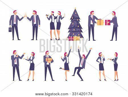 Set Of Christmas Businessmen.