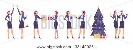 Set Of Christmas Businesswomen.
