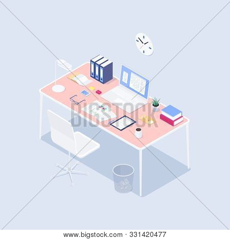 Isometric Concept Workplace. 3d Computer, Claim Form, Coffee, Smartphone, Lamp, Plant On A Desk. Vec