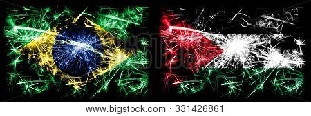Brazil, Brazilian Vs Palestine, Palestinian New Year Celebration Sparkling Fireworks Flags Concept B