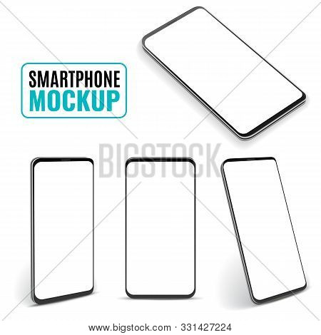 Smartphone Mockup. Modern Frameless Smartphones, Generic Cell Phone Device Side And Top, Isometric V
