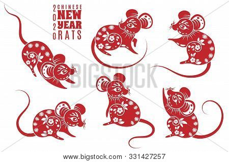 New Year 2020 Rat. Red Rats With Asian Pattern Elements. Chinese Astrological Holiday Symbol For Cre