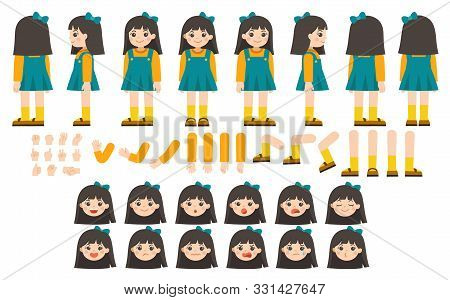 Mascot Creation Kit Of Little Girl For Different Poses . Vector Constructor With Various Views, Emot