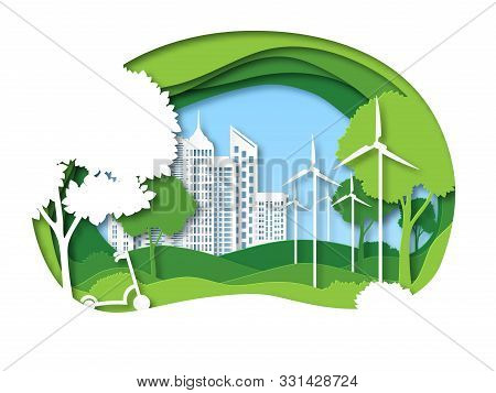 Eco City. Future Ecosystem With Building, Tree And Windmill. Green Recycling Energy, Save Environmen