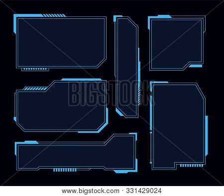 Hud Frames. Futuristic Modern User Interface Elements, Hud Control Panel. High Tech Screen Digital H