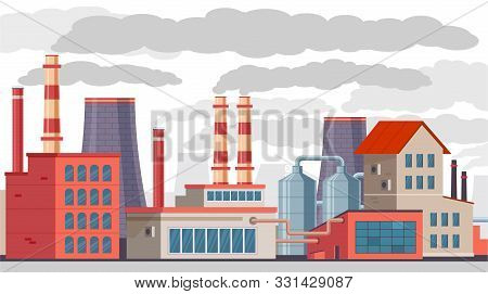 Industrial Pollution. Factory With Pipes Pollutes Air And Environment With Toxic Smoke. Smog Emissio