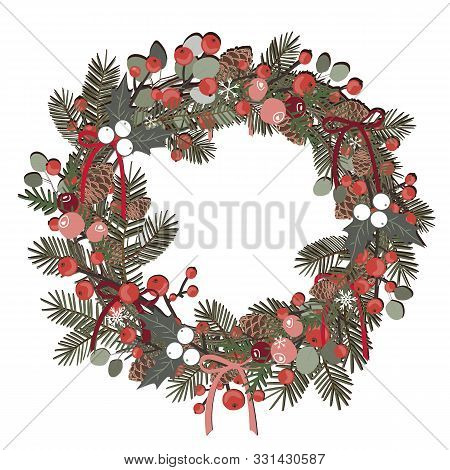 Beautiful Christmas Decorative Wreath Of Pine Branches, Berries, Ilex, Cedar And Pine Cones Over Whi