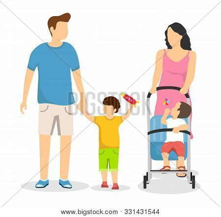 Happy Family Isolated On A White Background. Mom With A Pram And Her Son Walks. Dad Goes Hand In Han