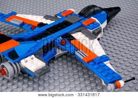 Tambov, Russian Federation - October 24, 2019 Lego Creator Thunder Wings Airplane On Gray Lego Basep