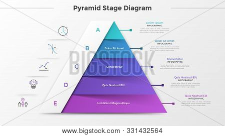 Triangular Chart Or Pyramid Diagram Divided Into 5 Parts Or Levels, Linear Icons And Place For Text.