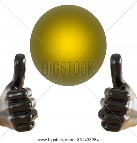 Black Figurine Of A Hand With A Protruding Thumb Up And Glowing Yellow Ball On An Isolated Backgroun