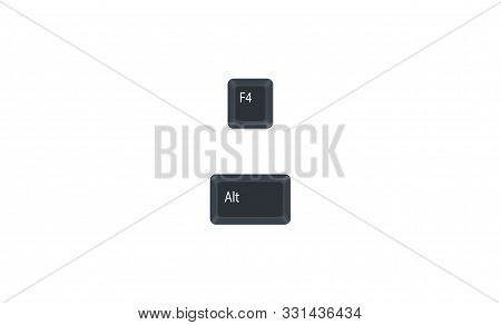 Alternate (alt) And F4 Computer Key Button Vector Isolated On White Background. Alt+f4 For Closes Th