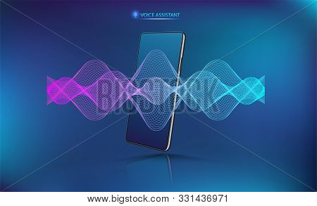 Voice Assistant Sound Wave With Smartphone Mockup. Microphone Voice Control Technology, Voice And So